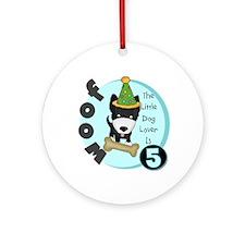 Dog Lover 5th Birthday Ornament (Round)