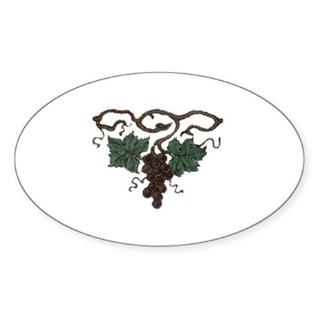 Grapes Oval Sticker