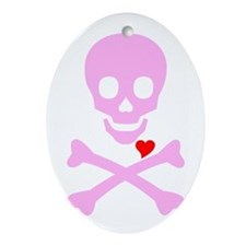Pink Pirates Love Ornament (Oval)