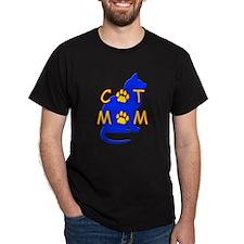 Cat Mom Black T-Shirt