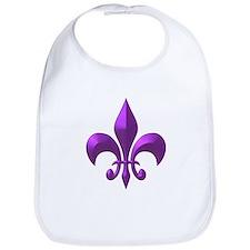 NOLA Purple Metallic Fleur Bib