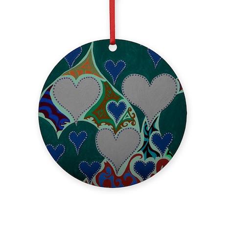 Raining Hearts Dark Teal Ornament (Round)