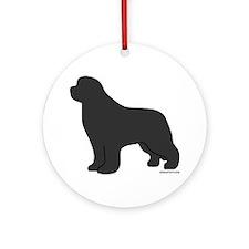 Gray Newfoundland Silhouette Ornament (Round)