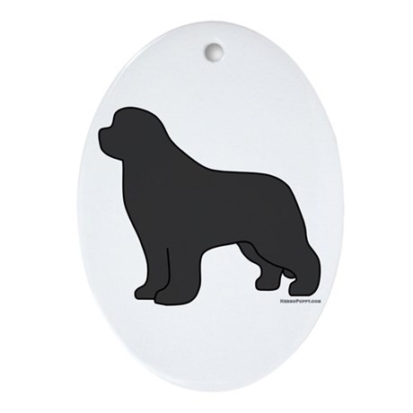 Gray Newfoundland Silhouette Ornament (Oval)