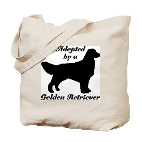 ADOPTED by Golden Retriever Tote Bag