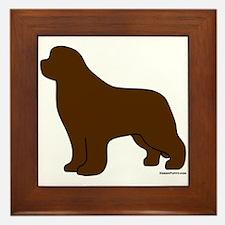 Brown Newfoundland Silhouette Framed Tile