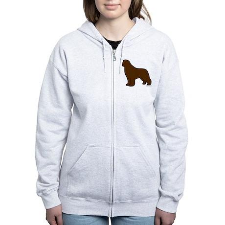 Brown Newfoundland Silhouette Women's Zip Hoodie