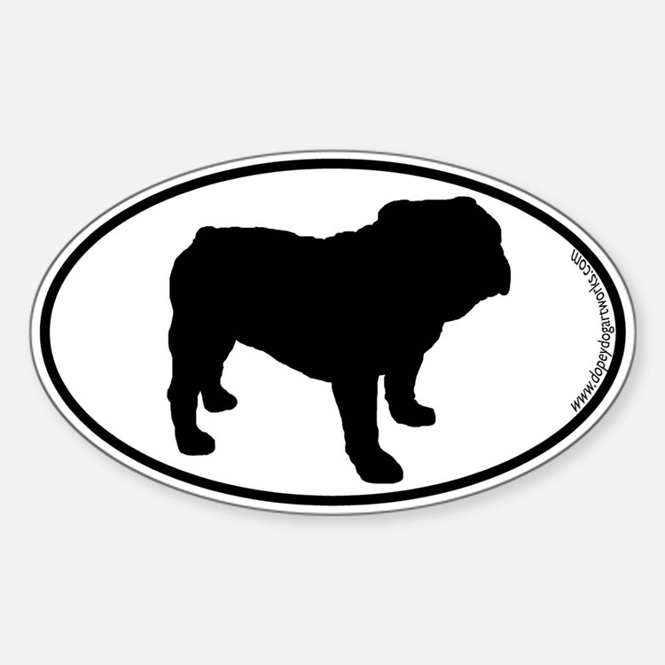 Bulldog SILHOUETTE Oval Decal
