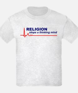 Religion Stops Thinking Mind Kid's Tee (Front Ony)