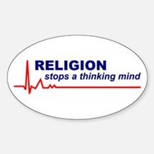 50 Religion Stops a Thinking Mind Oval Stickers