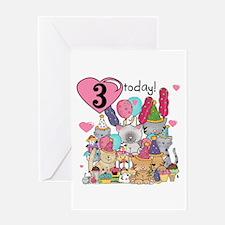 Kittens 3rd Birthday Greeting Card