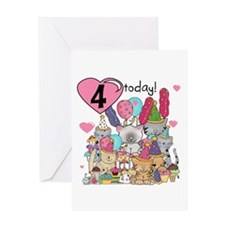 Kittens 4th Birthday Greeting Card