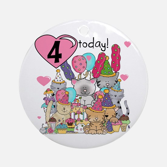 Kittens 4th Birthday Ornament (Round)