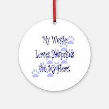 Westie Pawprints Keepsake Ornament