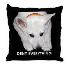 Deny Everything Throw Pillow