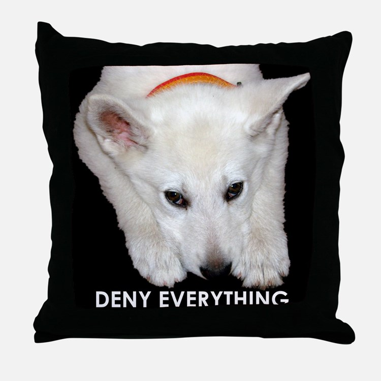 Deny Everything Throw Pillow