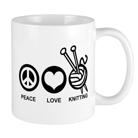 Peace Love Knitting Mug