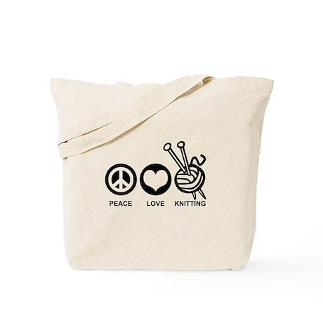 Peace Love Knitting Tote Bag