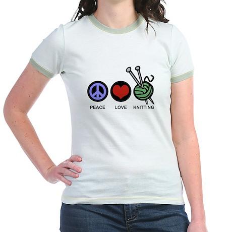 Peace Love Knitting Jr. Ringer T-Shirt