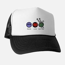 Peace Love Knitting Trucker Hat