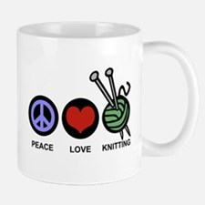 Peace Love Knitting Mug