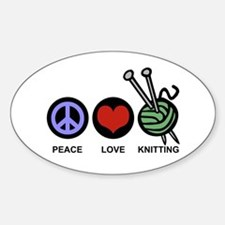 Peace Love Knitting Sticker (Oval)