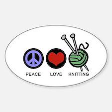 Peace Love Knitting Sticker (Oval)
