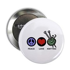 "Peace Love Knitting 2.25"" Button"