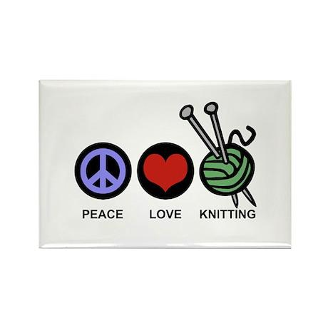 Peace Love Knitting Rectangle Magnet