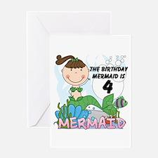 Mermaid 4th Birthday Greeting Card