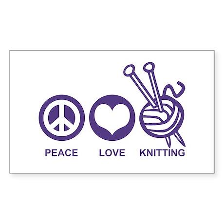 Peace Love Knitting Sticker (Rectangle)