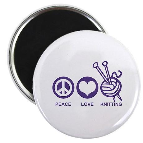Peace Love Knitting Magnet