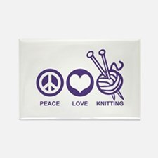 Peace Love Knitting Rectangle Magnet