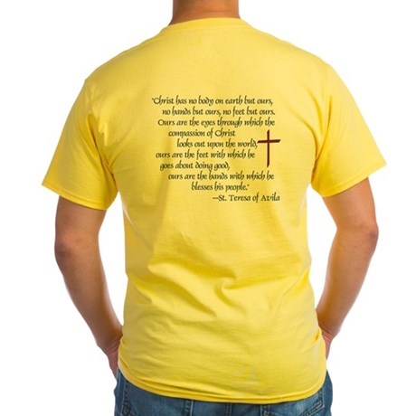(BACK) St. Teresa of Avila Quote Yellow T-Shirt
