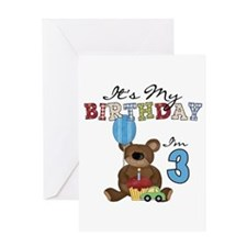 Bear 3rd Birthday Greeting Card