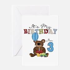Bear 3rd Birthday Greeting Card