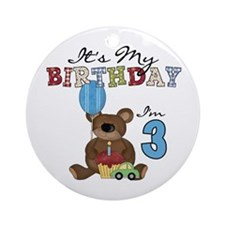 Bear 3rd Birthday Ornament (Round)