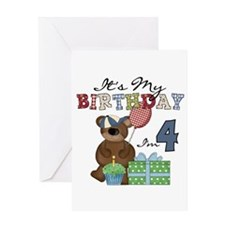 Bear 4th Birthday Greeting Card