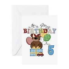Bear 5th Birthday Greeting Card