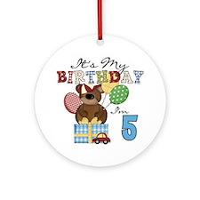 Bear 5th Birthday Ornament (Round)