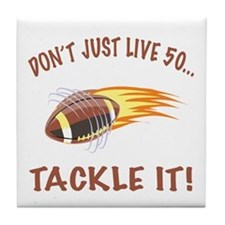 Tackle 50 Football Bday Tile Coaster