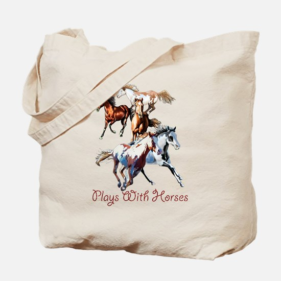 Plays With Horses Tote Bag