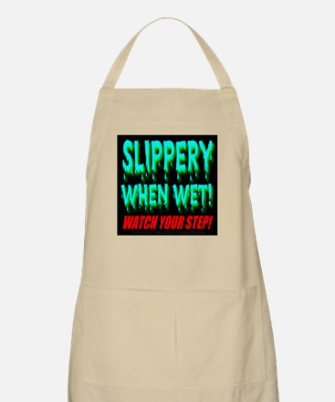 Slippery When Wet! Blue Water BBQ Apron