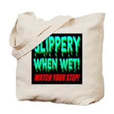 Slippery When Wet! Blue Water Tote Bag