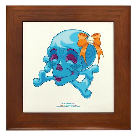 Kawaii Blue Skull Framed Tile