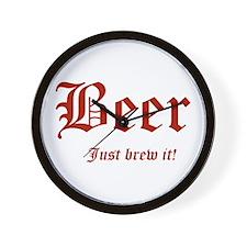 BEER Just Brew It! Beer Lover Wall Clock