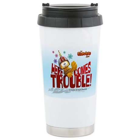 "Garfield ""Here Comes Trouble"" Stainless Steel Trav"