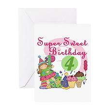 Sweet 4th Birthday Greeting Card