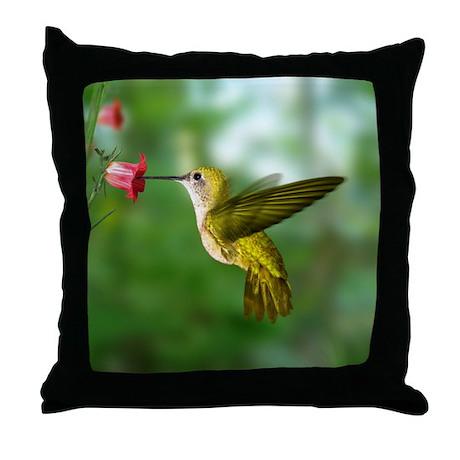 Hummingbird in Flight Bird Photo Throw Pillow