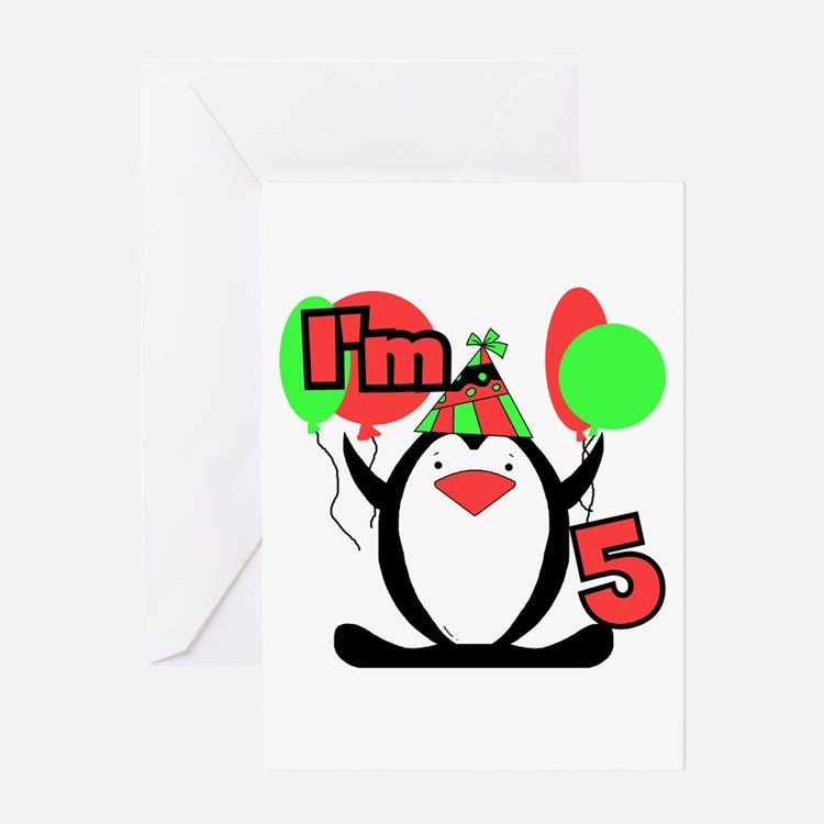 5th Party Penguin Greeting Card